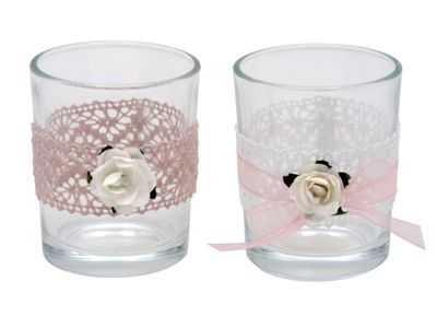 2x Teelichtglas MARINA Vintage Hochzeit Rosa Weiß