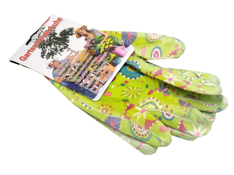 Gartenhandschuhe S-M Damen Garten Handschuhe Gartenarbeit Blumenmotiv