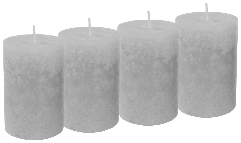 4 Stumpenkerzen Kerzen Hellgrau Grau Hochzeit Kommunion Konfirmation Tischdeko Deko