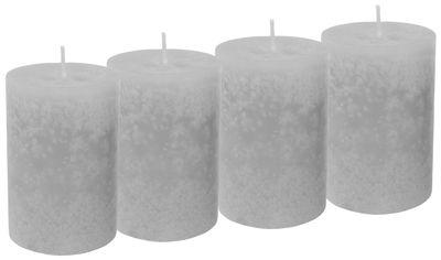4 Stumpenkerzen Kerzen Hellgrau Grau