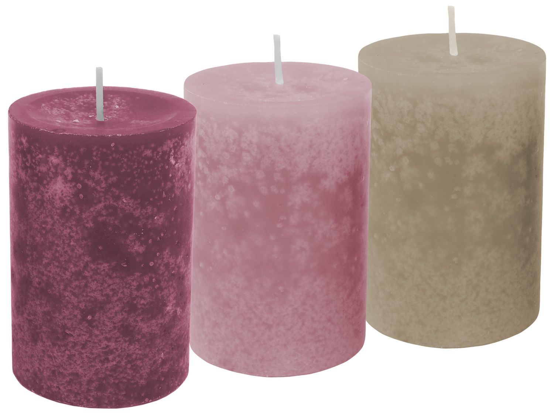 3 Stumpenkerzen Kerzen Mix Beere Rosa Taupe Kerzendeko Tischdeko Hochzeit Kommunion Konfirmation