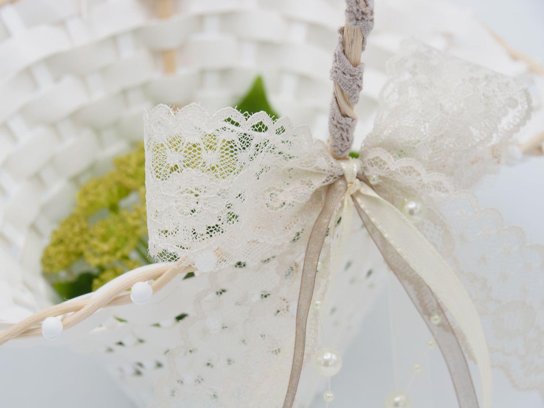 Blumenkorbchen Eva Vintage Hochzeit Streukorbchen Taupe Creme Spitze