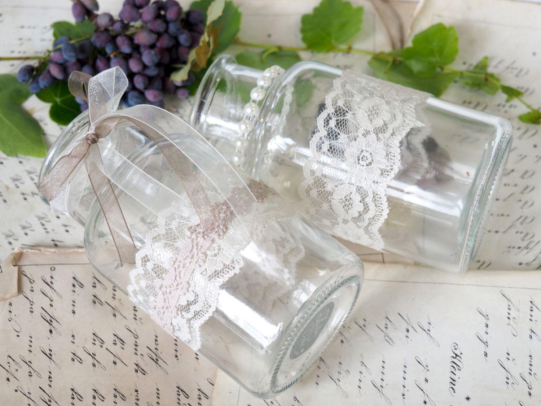 2 Vasen Tischdeko Hochzeit Vintage Spitze Taupe Creme EVA Deko