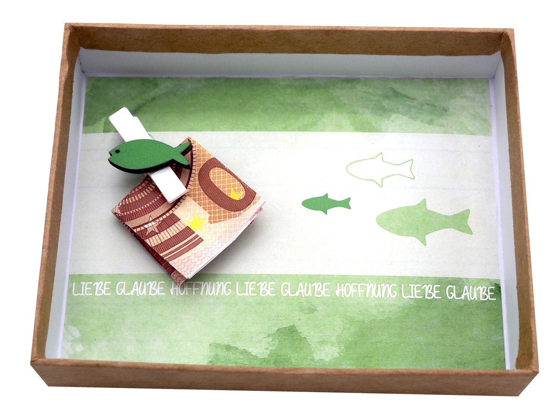 Geldgeschenk Verpackung JONAS Grün Fisch Kommunion Konfirmation Geschenk Gutschein