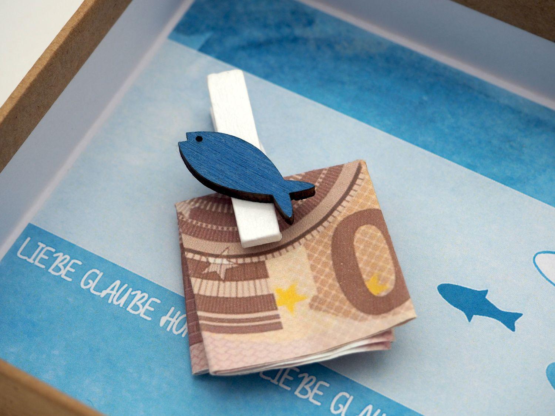 Geldgeschenk Verpackung ISAAK Fisch Blau Türkis Petrol Kommunion Konfirmation Geschenk Gutschein