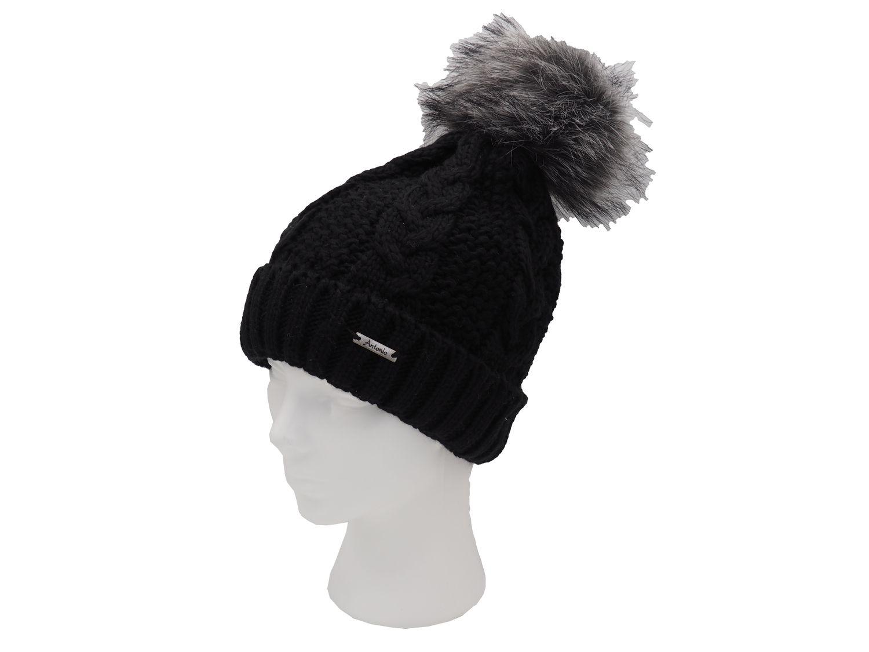 Strickmütze Gefüttert mit Bommel und Fleece Futter Winter-Mütze Bommelmütze Mütze Schwarz Kunstfell