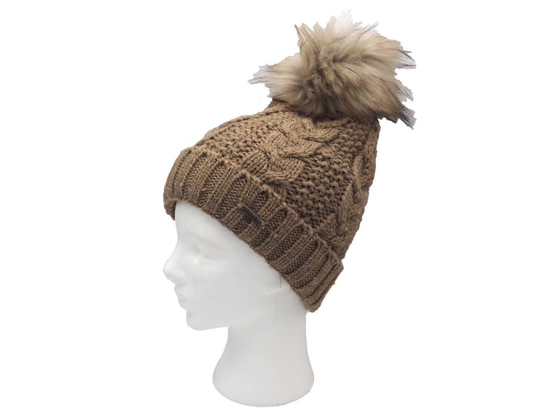 Strickmütze Gefüttert mit Bommel und Fleece Futter Winter-Mütze Bommelmütze Mütze Braun Kunstfell