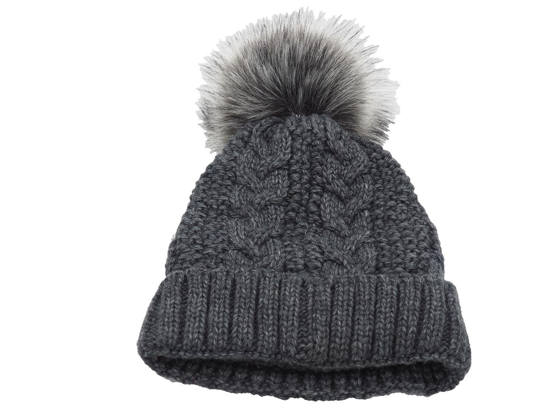Strickmütze Gefüttert mit Bommel und Fleece Futter Winter-Mütze Bommelmütze Mütze Anthrazit Kunstfell