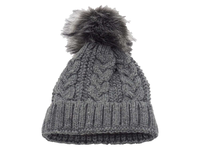 Strickmütze Gefüttert mit Bommel und Fleece Futter Winter-Mütze Bommelmütze Mütze Grau Kunstfell