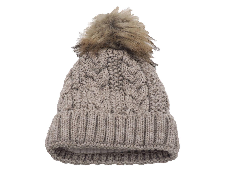Strickmütze Gefüttert mit Bommel und Fleece Futter Winter-Mütze Bommelmütze Mütze Beige Kunstfell