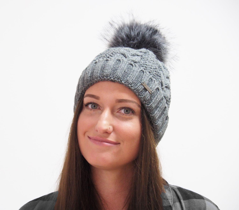 Strickmütze Gefüttert mit Bommel und Fleece Futter Winter-Mütze Bommelmütze Mütze Altrosa Kunstfell