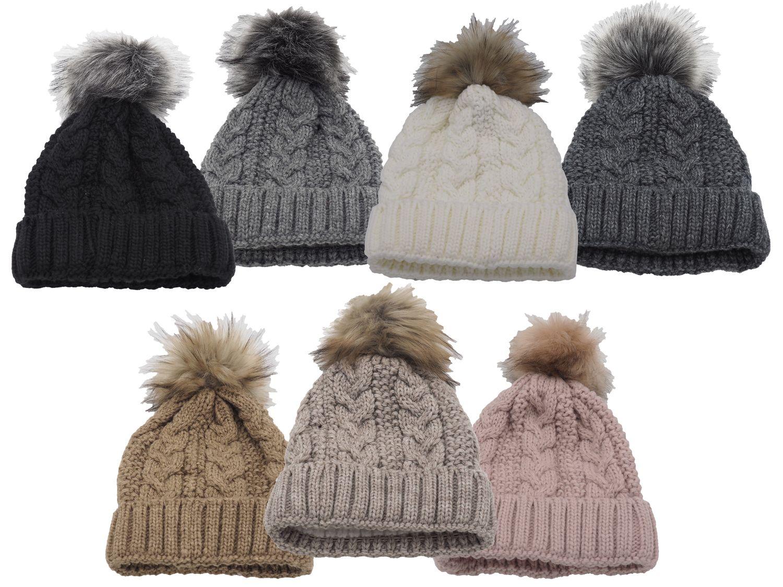 Strickmütze Gefüttert mit Bommel und Fleece Futter Winter-Mütze Bommelmütze Mütze Damen Kunstfell