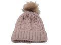 Strickmütze Gefüttert mit Bommel und Fleece Futter Winter-Mütze Bommelmütze Mütze Altrosa Kunstfell 6