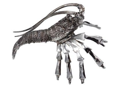 Dekofigur Languste Krebs Silber