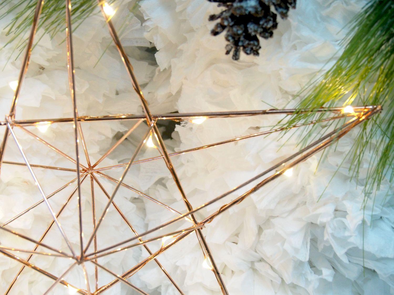 LED Stern Draht Metall Kupfer Leuchtend Weihnachten Fensterdeko Weihnachtsdeko Advent