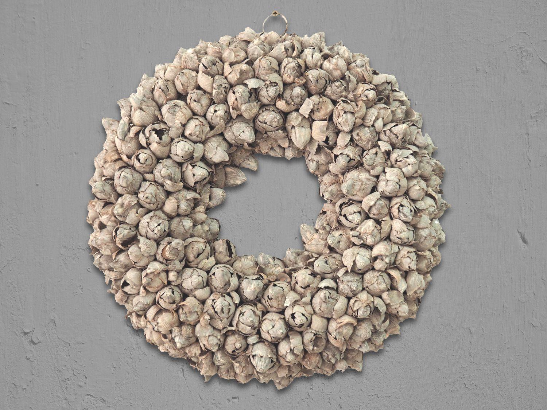 Kranz Naturkranz Türkranz Wandkranz Ø 40cm Kokosfrüchte Herbst Weihnachten