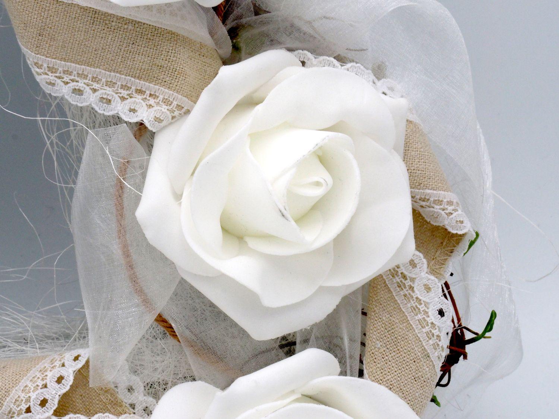 Autodeko Herz Rosen Creme Natur Hochzeit Hochzeit Autodeko