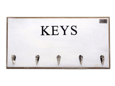 Schlüsselbrett Holz Weiß Schlüsselleiste Schlüsselboard KEYS