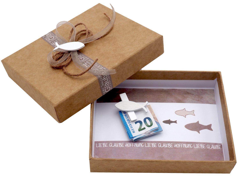 Geldgeschenk Verpackung Geldverpackung Braun Kommunion Konfirmation Fisch