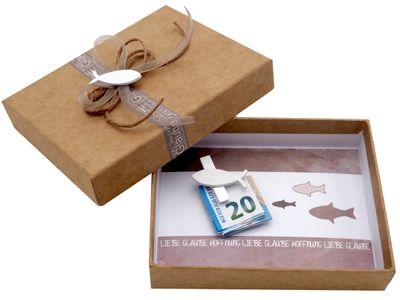 Geldgeschenk Geldverpackung Fisch Natur Taupe Kommunion Konfirmation