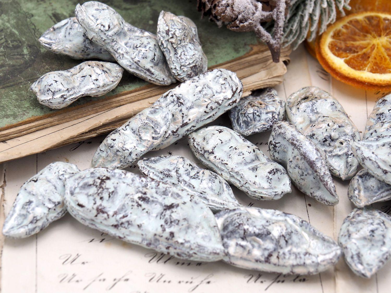 500g Bohnen Schoten Mint Silber Natur Deko Tischdeko Weihnachten Streudeko Basteln
