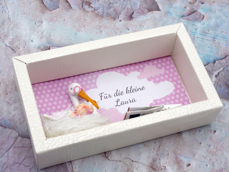 Geldgeschenk Verpackung Geldverpackung MIT NAMEN Baby Storch Mädchen Geburt Taufe Gutschein