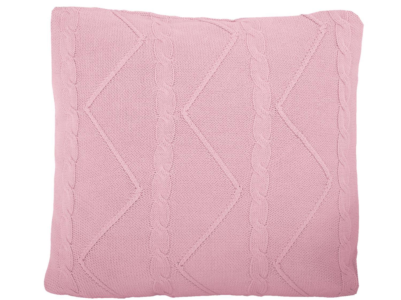 Set: Decke und Kissen Zopfmuster Vintage Rosa Dekokissen Zierkissen Couchkissen Kuscheldecke