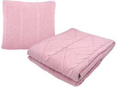 Set: Decke und Kissen Zopfmuster Vintage Rosa