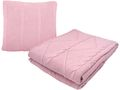 Set: Decke und Kissen Zopfmuster Vintage Rosa Dekokissen Zierkissen Couchkissen Kuscheldecke 1