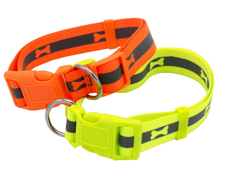 Hundehalsband Halsband Hund Orange Gelb Hunde Geschirr Neon