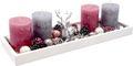 Adventsgesteck Weihnachten Weihnachtsdeko Tablett Hirsch Silber Grau Rosa Lichterkette Deko 001
