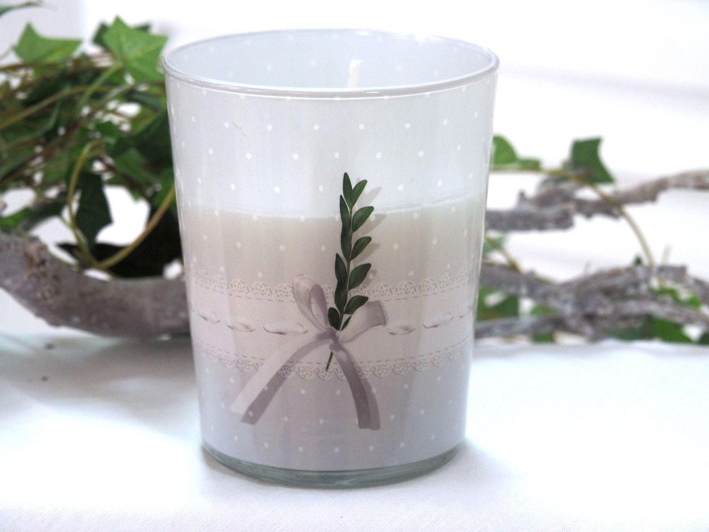 Kerzenglas Kerze im Glas Tischdeko Kommunion Konfirmation Buchs Grau Grün