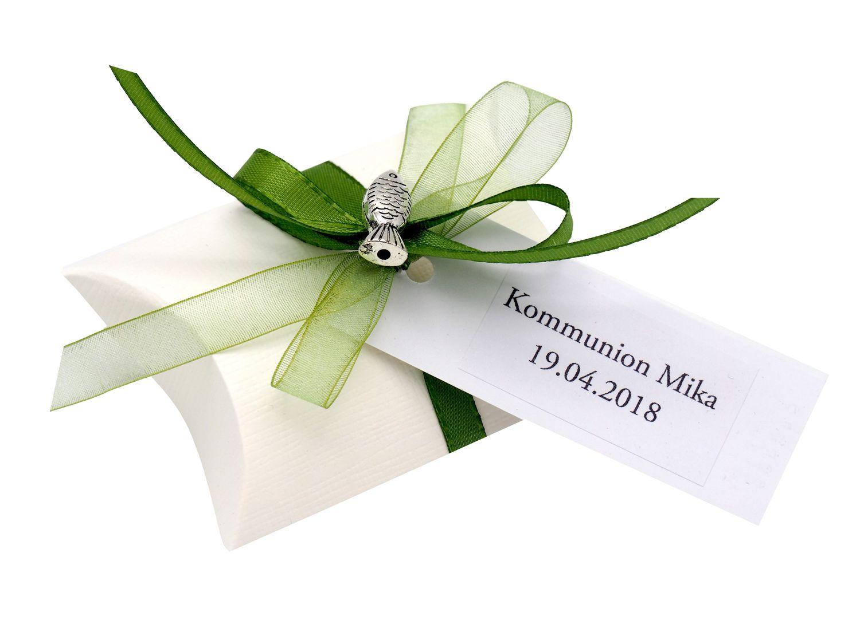 10x Gastgeschenk Fisch mit Namen Bedruckt Grün Personalisiert Taufe Kommunion Konfirmation