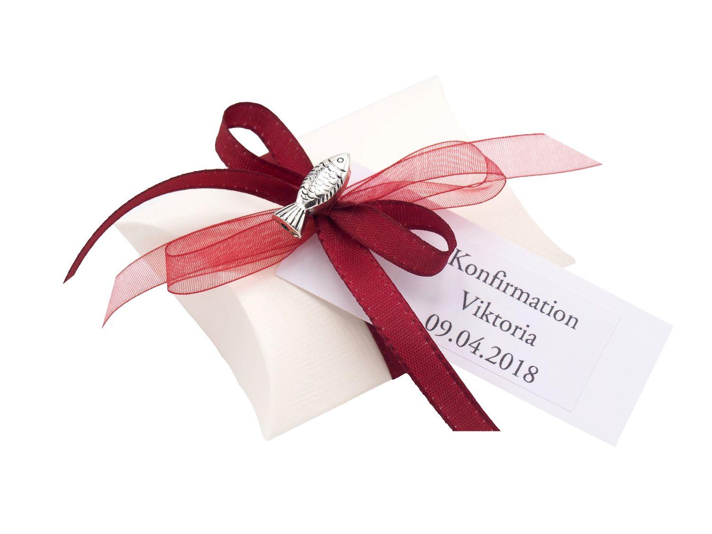 10x Gastgeschenk Fisch mit Namen Bedruckt Rot Bordeaux Personalisiert Taufe Kommunion Konfirmation