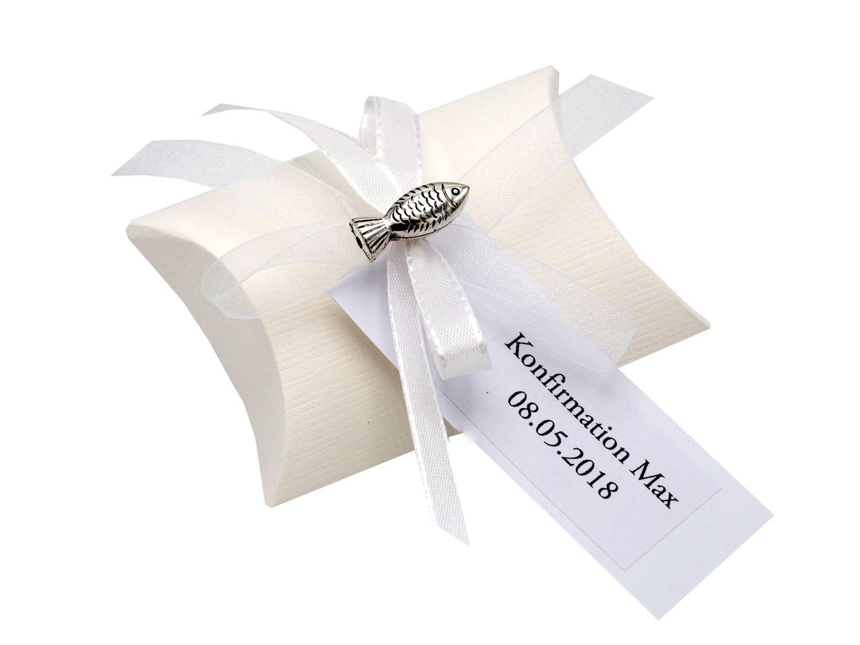 10x Gastgeschenk Fisch mit Namen Bedruckt Weiß Personalisiert Taufe Kommunion Konfirmation