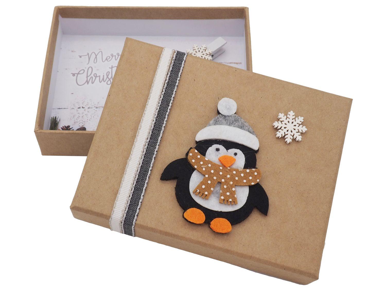 Geldgeschenk Verpackung Weihnachten Pinguin Schneeflocke Weihnachten