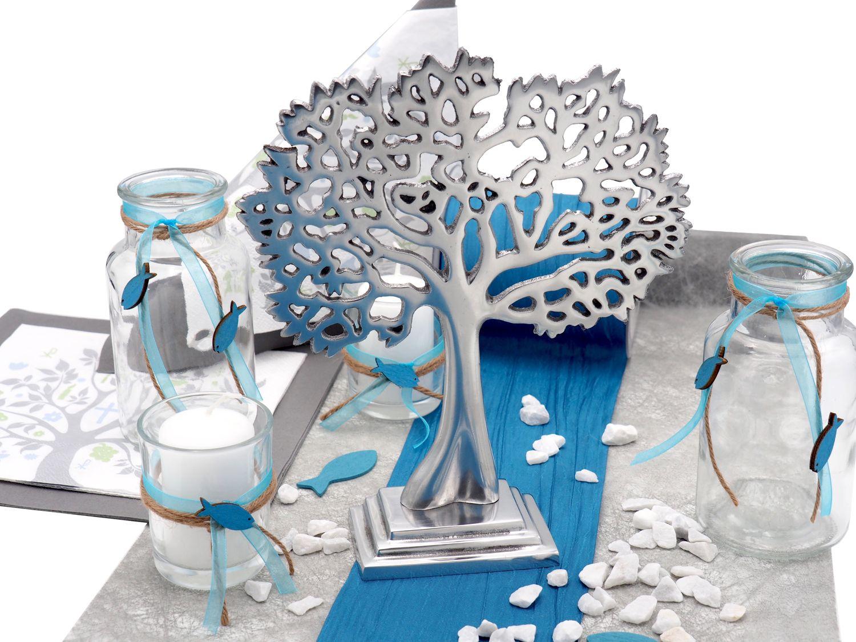 Tischdeko Kommunion Konfirmation Petrol Blau Grau Baum des Lebens Gastgeschenke SET 20 Personen