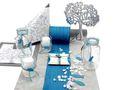 Tischdeko Kommunion Konfirmation Petrol Blau Grau Baum des Lebens Gastgeschenke SET 20 Personen 1