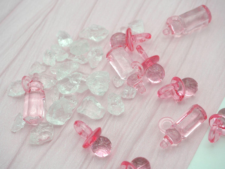Tischdeko Taufe Rosa Weiß Geburt Mädchen Baby SET 20 Personen