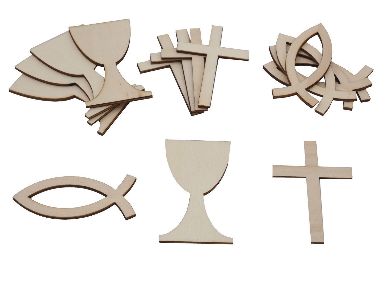 Tischdeko Streudeko Holz Kommunion Konfirmation Baum des Lebens Kreuz Fisch Kelch Steine