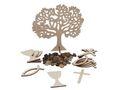 Tischdeko Streudeko Holz Kommunion Konfirmation Baum des Lebens Kreuz Fisch Kelch Steine 1