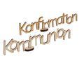 Streudeko Schriftzug Holz mit Aufsteller Kommunion Konfirmation Tischdeko  1