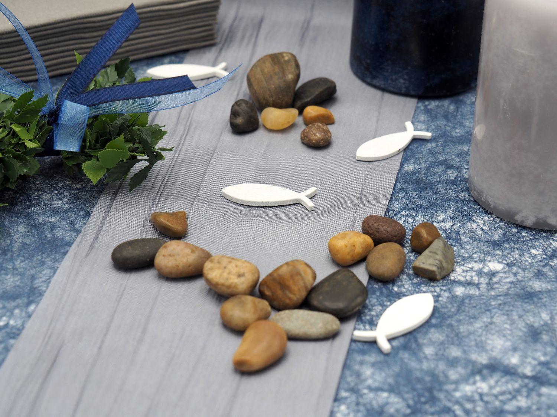 SET: 20 Personen Tischdeko Fisch Blau Grau Grün Kommunion Konfirmation Tischdekoset