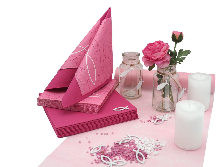 tischdeko kommunion konfirmation pink rosa wei fisch set 20 personen kommunion konfirmation. Black Bedroom Furniture Sets. Home Design Ideas