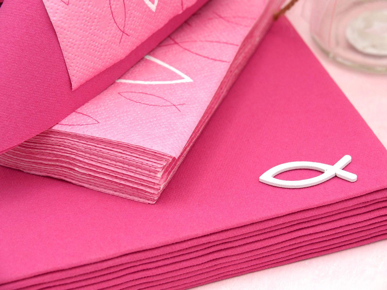 Tischdeko Kommunion Konfirmation Pink Rosa Weiss Fisch Set 20