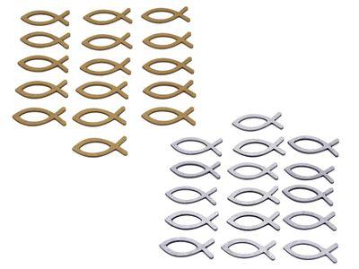 Streudeko Fische Kommunion Konfirmation 16 Stück Silber Gold