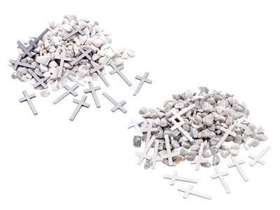 Streudeko Steine Gekalkt Weiß und Kreuze Holz Silber