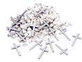 Streudeko Tischdeko Steine Gekalkt Weiß und Kreuze Kommunion Konfirmation Holz Silber Granulat 2