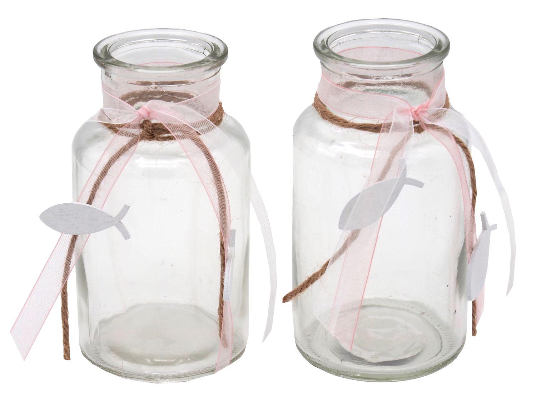 2 Vasen Rosa Fisch Vintage Kommunion Konfirmation Tischdekoration Deko