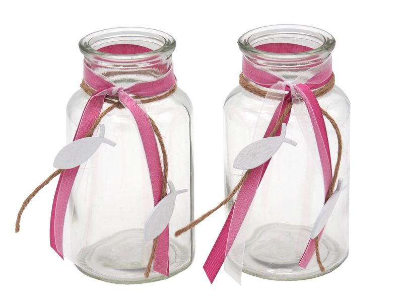 2 Vasen Pink Fisch Vintage Kommunion Konfirmation Tischdekoration Deko